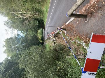 Carretera hundida en Asturias