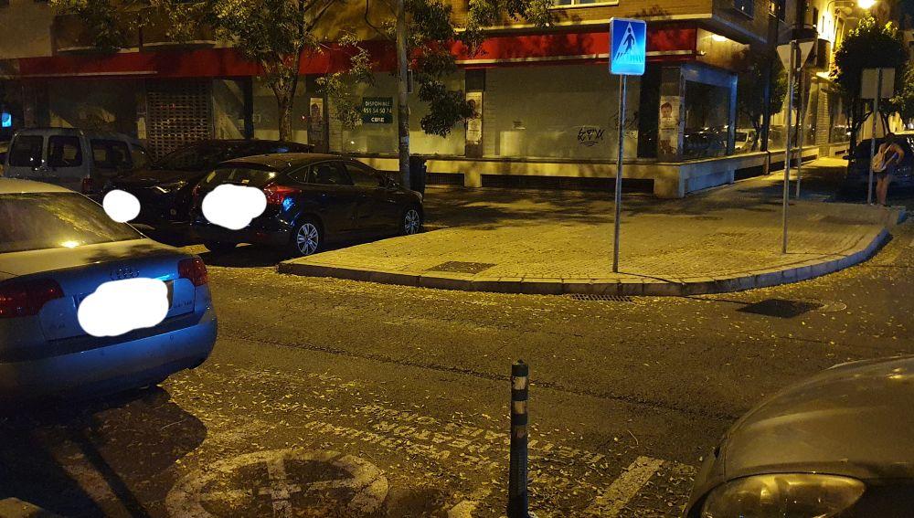 Paso de peatones desdibujado en Sevilla
