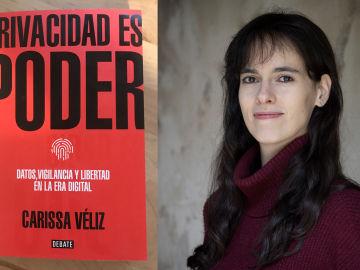 La investigadora Carissa Véliz y la portada de su libro 'Privacidad es poder'.
